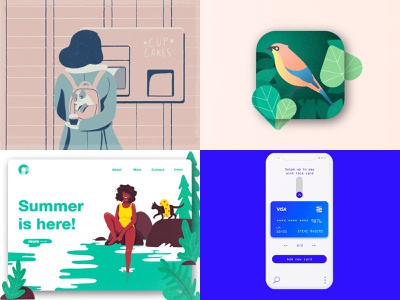 Top of 2018 colorful cat bird app top 2018 flat character cute ui ux texture girl illustration