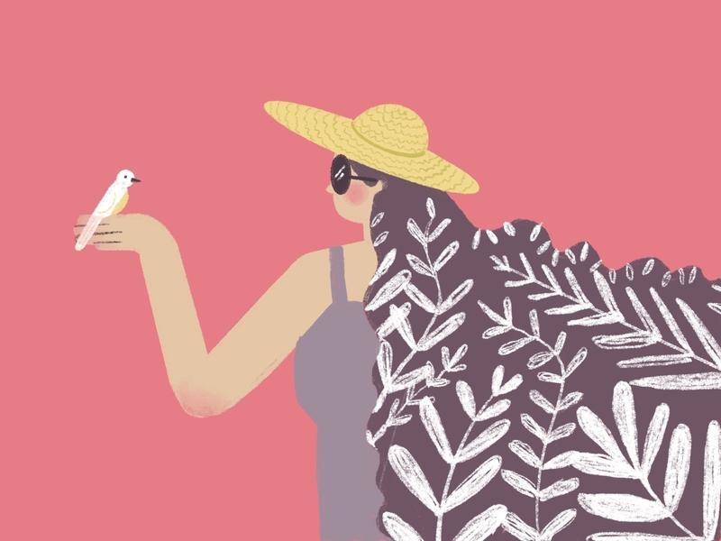 Little Friends ipad summer hat bird procreate design character cute texture girl illustration