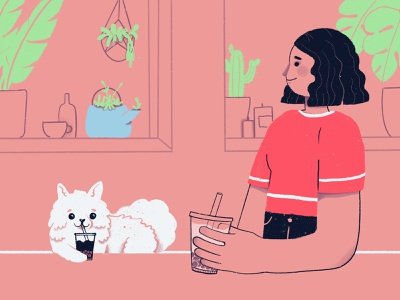 all pets allowed cafe cafe bubble tea procreate creative drawing digital girl flat illustration character design character