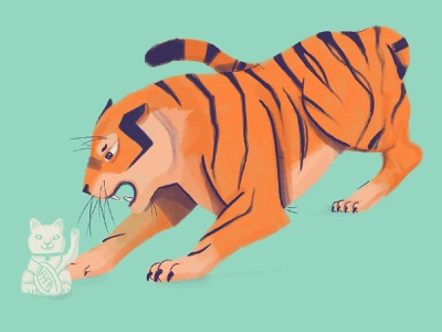 Lucky Tiger neko gouache cute angry lucky cat tigers character procreate flat illustration