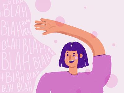 Chatty Girl happy pink bubbles bubblegum design character texture cute girl flat illustration
