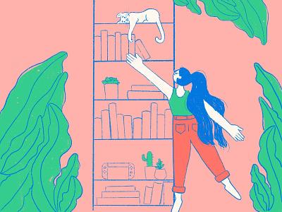 Top Shelf home decor plants books cat procreate character texture cute girl flat illustration