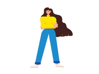 Boss Lady women empowering boss icon design vector character texture cute flat girl illustration
