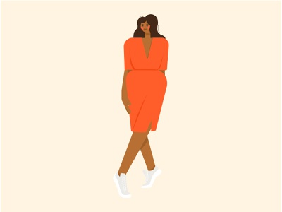 Sun Dress Season coral summer tan sneakers design vector character texture cute girl flat illustration