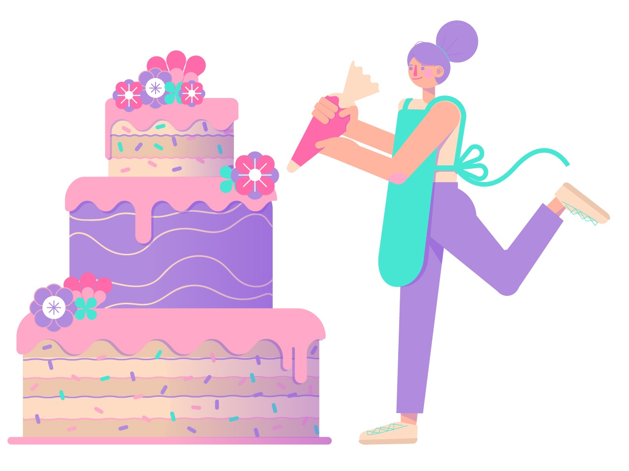 Cake Pro wedding cake bakery pastry chef baker baking cake vector character texture cute girl illustration