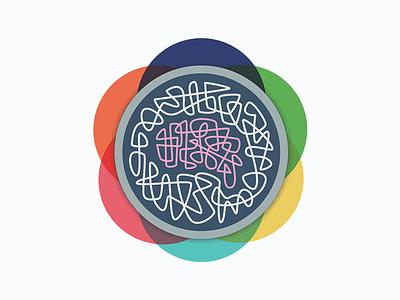 Healthy Brains Flower retro logo alzheimers graphic design