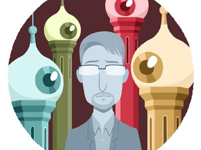 Snowden editorial vector eyeball spy russia snowden