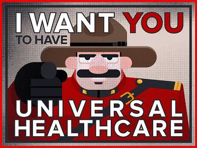 Canadian Uncle Sam poster healthcare mountie halftone vector canada