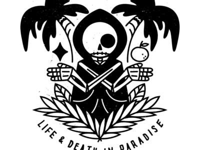 Paradise shirt black reaper floral plant california omyow