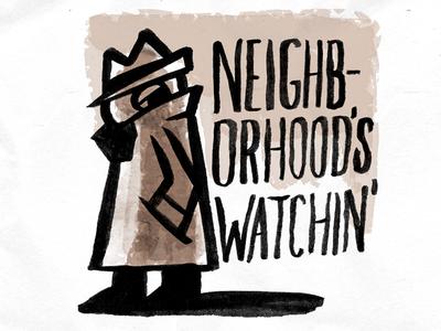 Neighborhood's Watchin print brown character detective figure watercolor comic