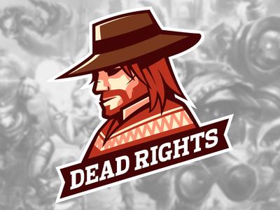 Team Dead Rights gaming fps poncho cowboy western sports mock mascot esports brand logo