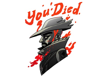 You Died type lettering profile character illustration ps4 bloodborne gaming