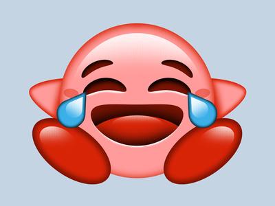 Kirbymoji pink cry laugh funny design emoji nintendo kirby