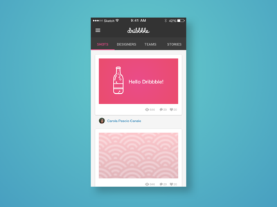 Dribbble feed feed social soda can app design material android mobile ux ui
