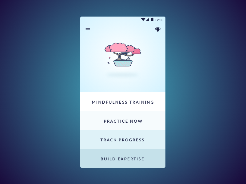 Mindfulness Coach minimal interface midfulness app ui