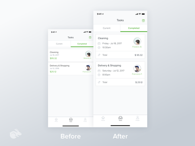 Task Cards on Client App chat notification redesign system design material layout card task