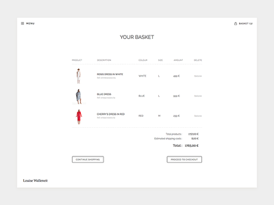 Birthdaysuits Basket clean simple fashion shop checkout whitespace flat typography minimal