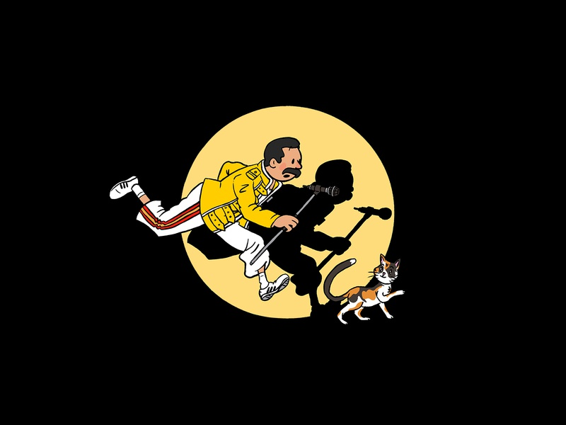 The Adventures of Freddie photoshop cute queen music tintin parody illustration funny freddie mercury