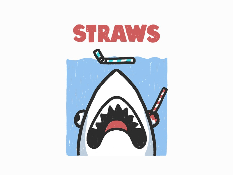 Straws save the ocean ocean enviroment nature movies cute funny design photoshop illustration parody jaws shark
