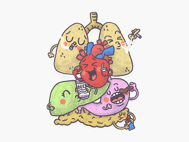 Bad Habits illustrator cute illustration food and drink funny fun heart inner body organs food bad habits