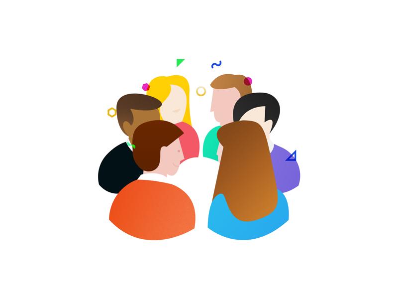 Unlocking team intelligence simple shapes intelligence unlock work people vector illustration experience team
