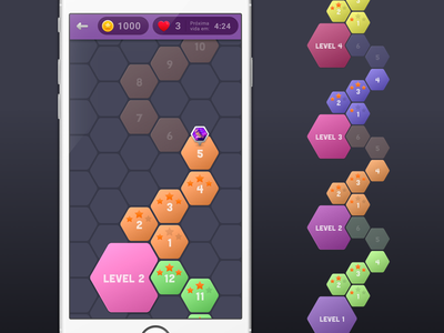 Trivia app map heart star mobile ui app android ios level game hexagon map trivia