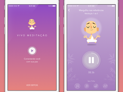 Meditation app player ui clean meditation android ios mobile