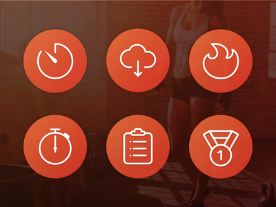 Fitness app icons sport workout fitness app mobile ui icons
