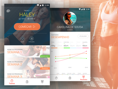 Fitness App workout profile material sports graph fitness ui android mobile