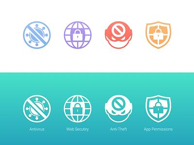 Antivirus Icons apps web antitheft malware antivirus ui mobile icon