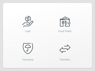 Finance icons food transfer insurance loan finance mobile ui icon