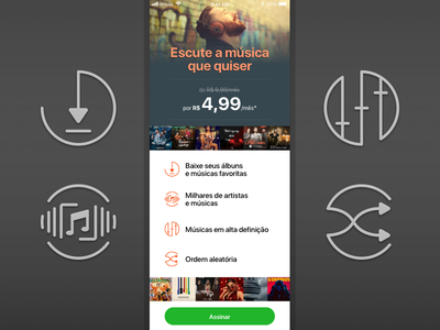 Streaming Service Landing Page mobile ios music landing page icons ui