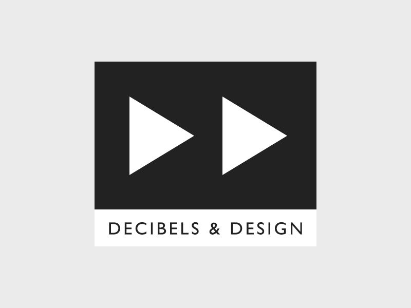 Decibels & Design logo music gill sans grey play fast forward decibels design