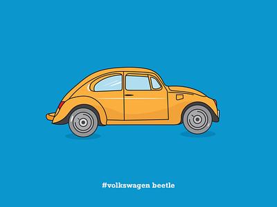 Volkswagen Beetle | Flat Illustration digital illustration illustration design illustration art cars minimal dribbble color flat illustration car illustration