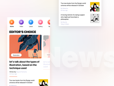 News Homefeed interaction dashboard colors app cards news