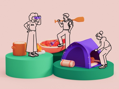 🤸♂️ Drawings + 3D — Experiment 👀 landing page editorial drawing 3d illustration