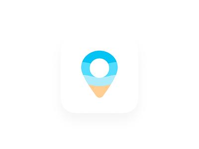 Beaches App Icon israel vector beach ocean ui branding design logo app sea icon