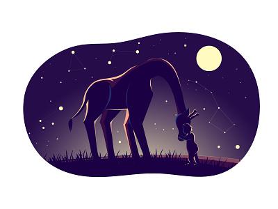Ioana and giraffe constellation nature friendship stars night sky moon cosmo wild baby animal giraffe