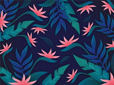 Tropical Floral Background nature color pattern flower tropical leaves tropical illustration summer leaf