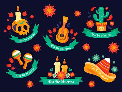 Día De Muertos Stikers dia de los muertos dia de muertos holoday mexican mexico skeleton halloween day of the dead stikers labels badges sticker illustration