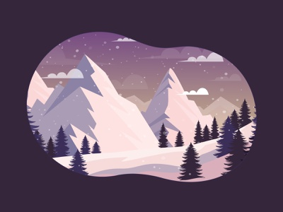 Winter landscape illustration resort ski christmas holiday forest trees mountains snow white lanscape winter