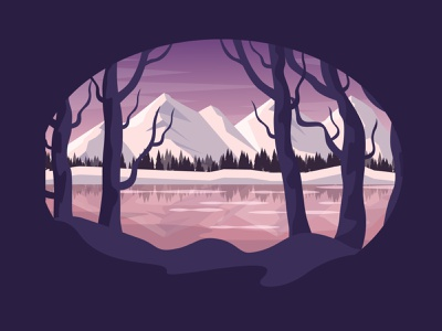 Winter landscape sunrise sunset forest woods mountains water river lake trees snow holiday illustration landscape winter