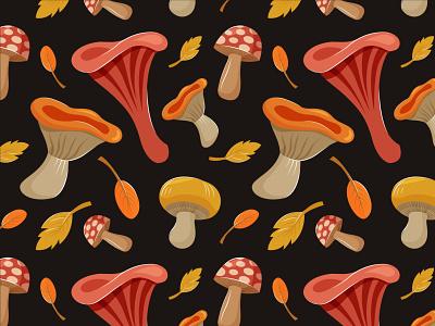 mushroom pattern pattern september autumn fall colorful leaf mushrooms mushroom