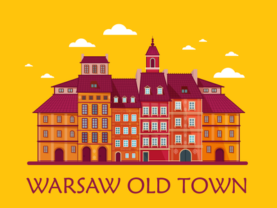 Warsaw Old Town colorfull europe illustration city old town old town warsaw