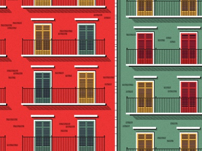 Building travel architecture illustration green red italy sicily palermo building