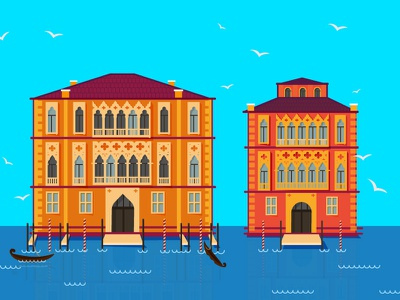 Venice flat gondola grand canal illustration color dream italy city venice