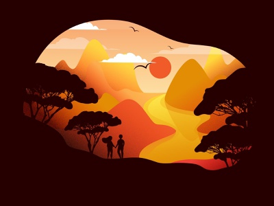 Sunset vector panorama surise tree birds spring lanscape outdoor lifestyle hiking silhouette travel couple people mountain sun sunset color illustration