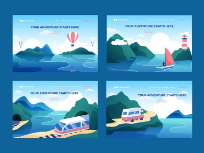 Illustrations for travel agency landing page vacation holiday summer landscape discover lighting house ship boat bus car train airbaloon trip road mountain sea agancy travel