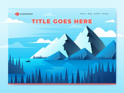 Illustration for landing page explore travel illustration forest tree lake river mountains winter wild landscape nature landing landing page