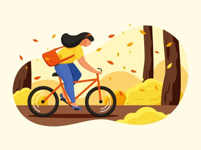 Autumn walk ui illustration color girl character tree fall leaf character back to shool bicycle girl walk autumn